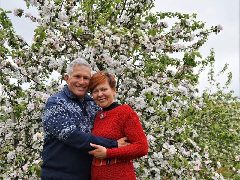 Piia ja Meelis õitsvas õunaaias